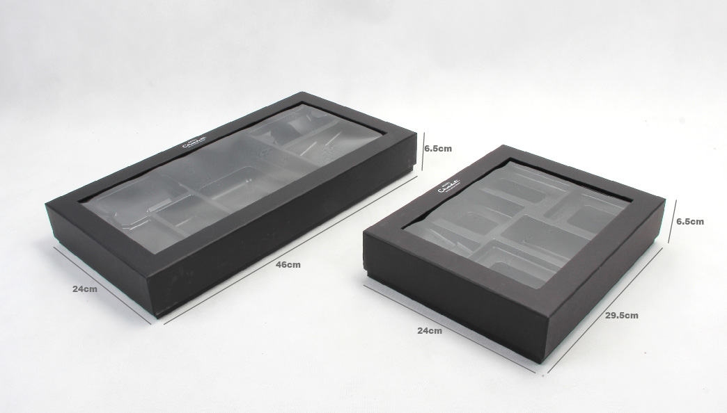 Black Chocolate Packaging Gift Boxes Set Size