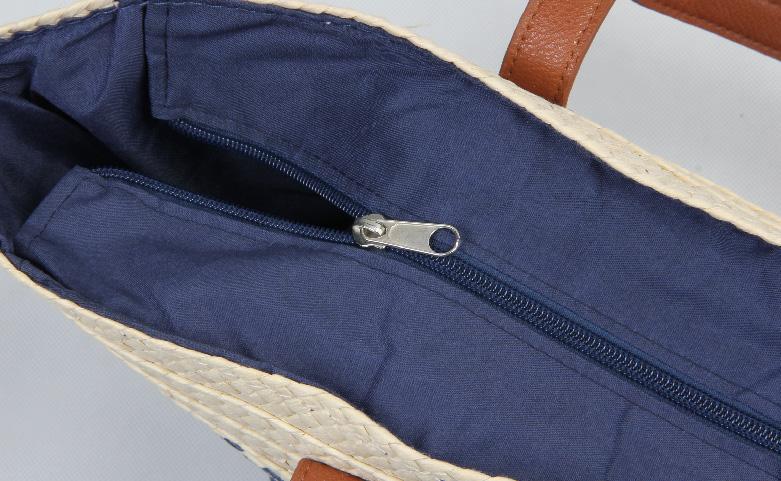 ECO-friendly Straw Stalk Woven Beach Bags Zipper