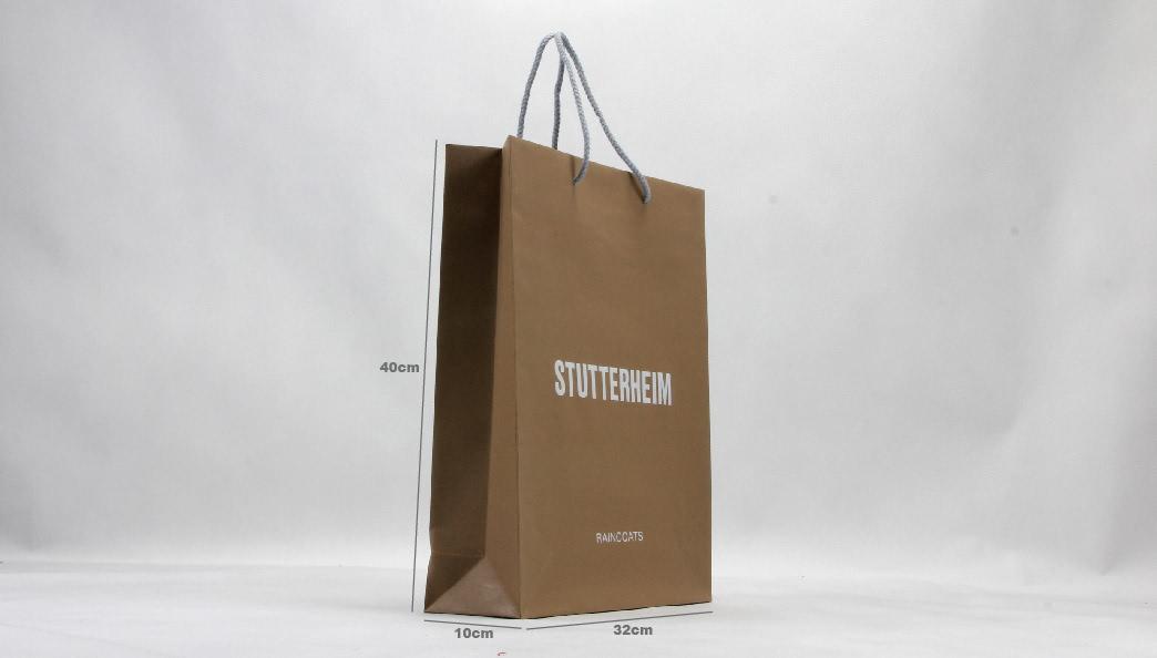 Brown Kraft Garment Paper Carrier Bags size