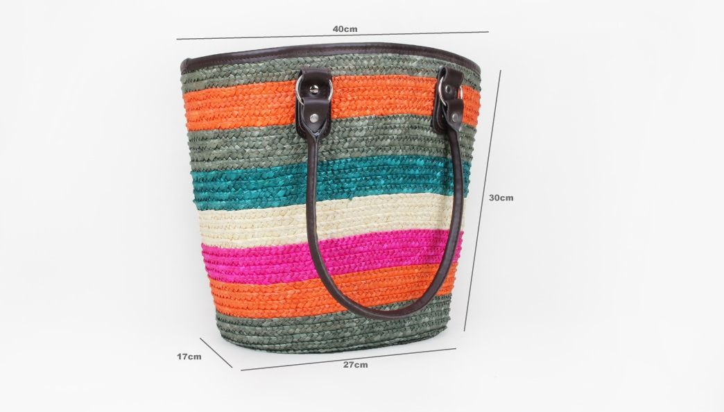 Colourful Straw Bag With Leather Handle size