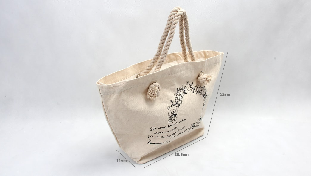 Flower Garland Canvas Tote Bags Handbags With Zipper Closure size