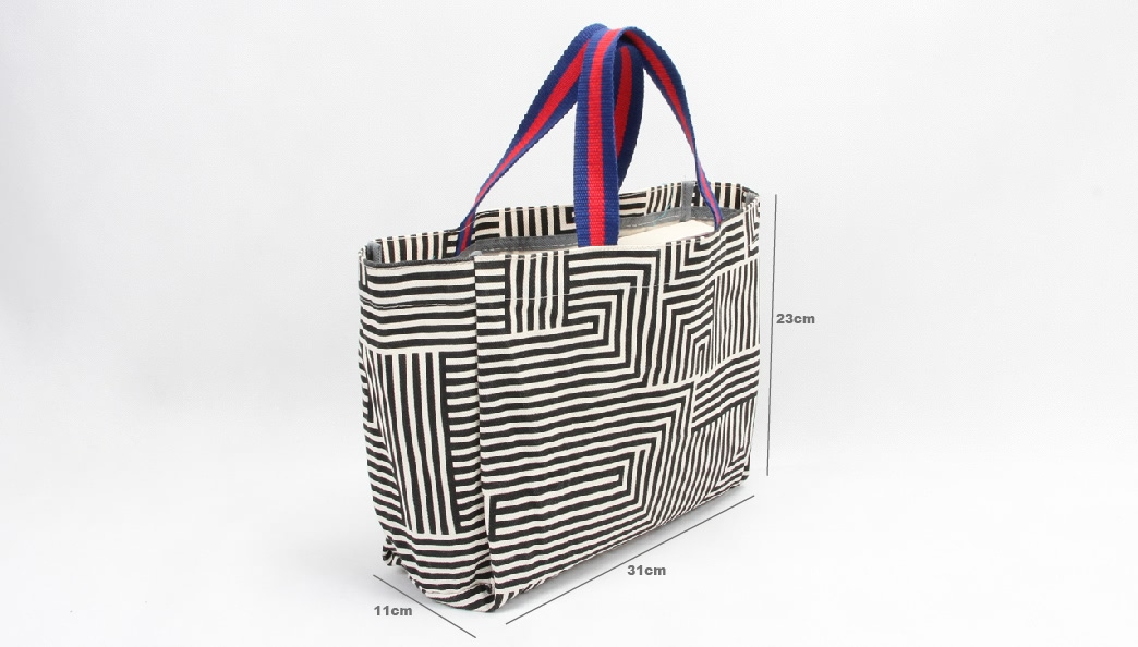 Geometric Maze image Canvas Shopping Handle Bags size