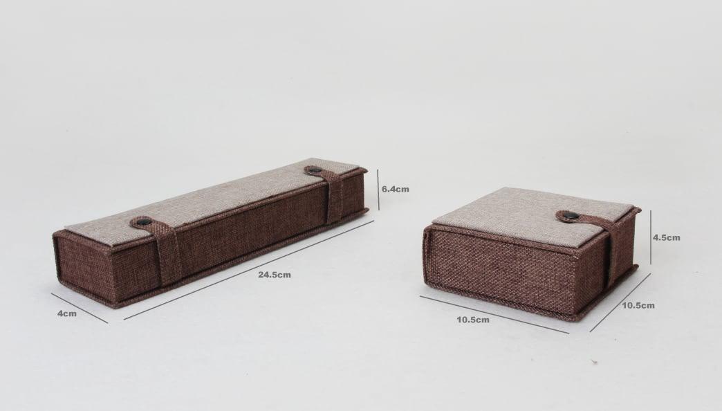 High Grade Imitation Hemp Jewelry Boxes Set size