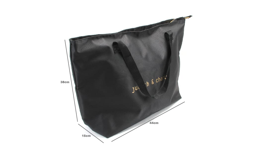 Large Black Polyester Beach Pool Tote Bags With Zipper Closure size