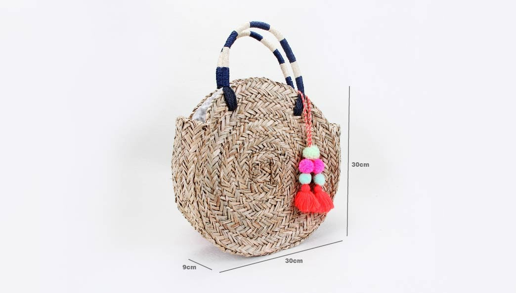 Round Straw Woven Beach Bags size