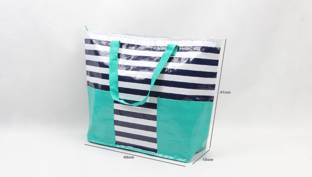 Stripes Woven PP Tote Bags Beach Bags size