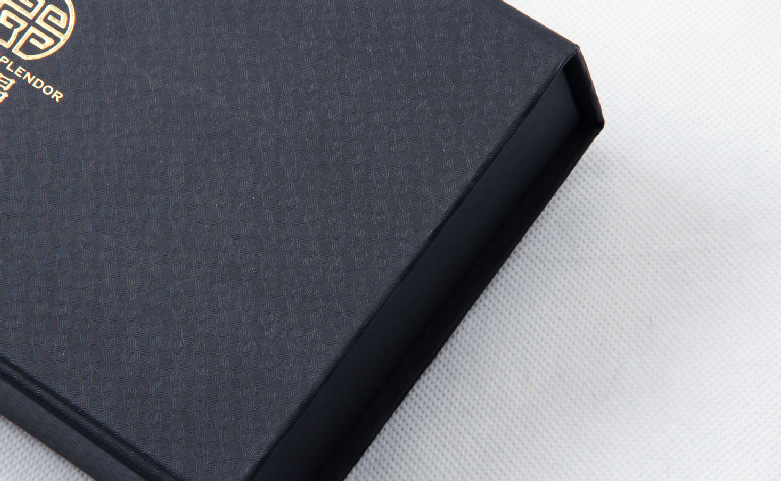 Century Brand Black Gold Scarf Packaging Boxes Embossing