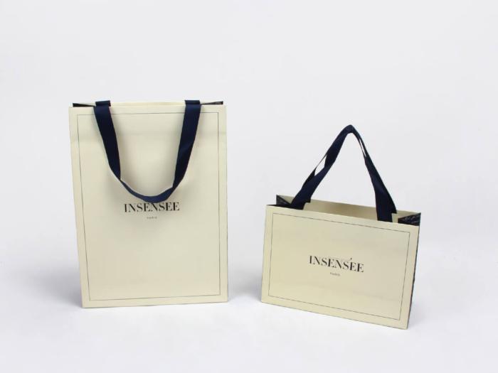 Beige Garment Paper Bags Both Side Printed