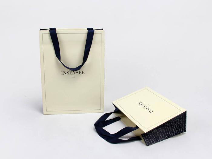 Beige Garment Paper Bags Display