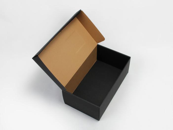 Black Corrugated Shoe Boxes Open Way