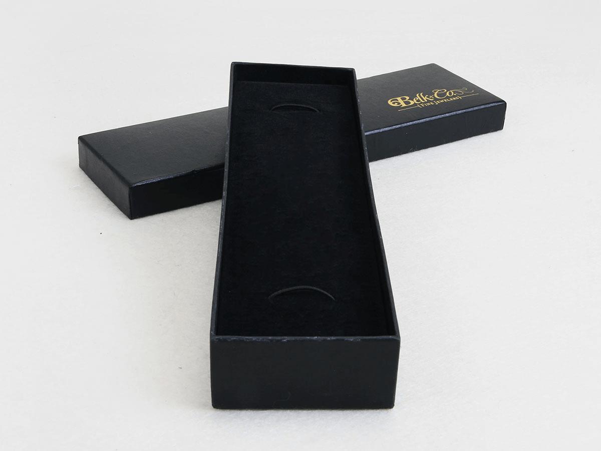 Bright Black Necktie Packaging Boxes Corner Detail