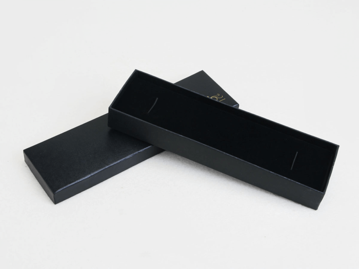 Bright Black Necktie Packaging Boxes Lining Detail