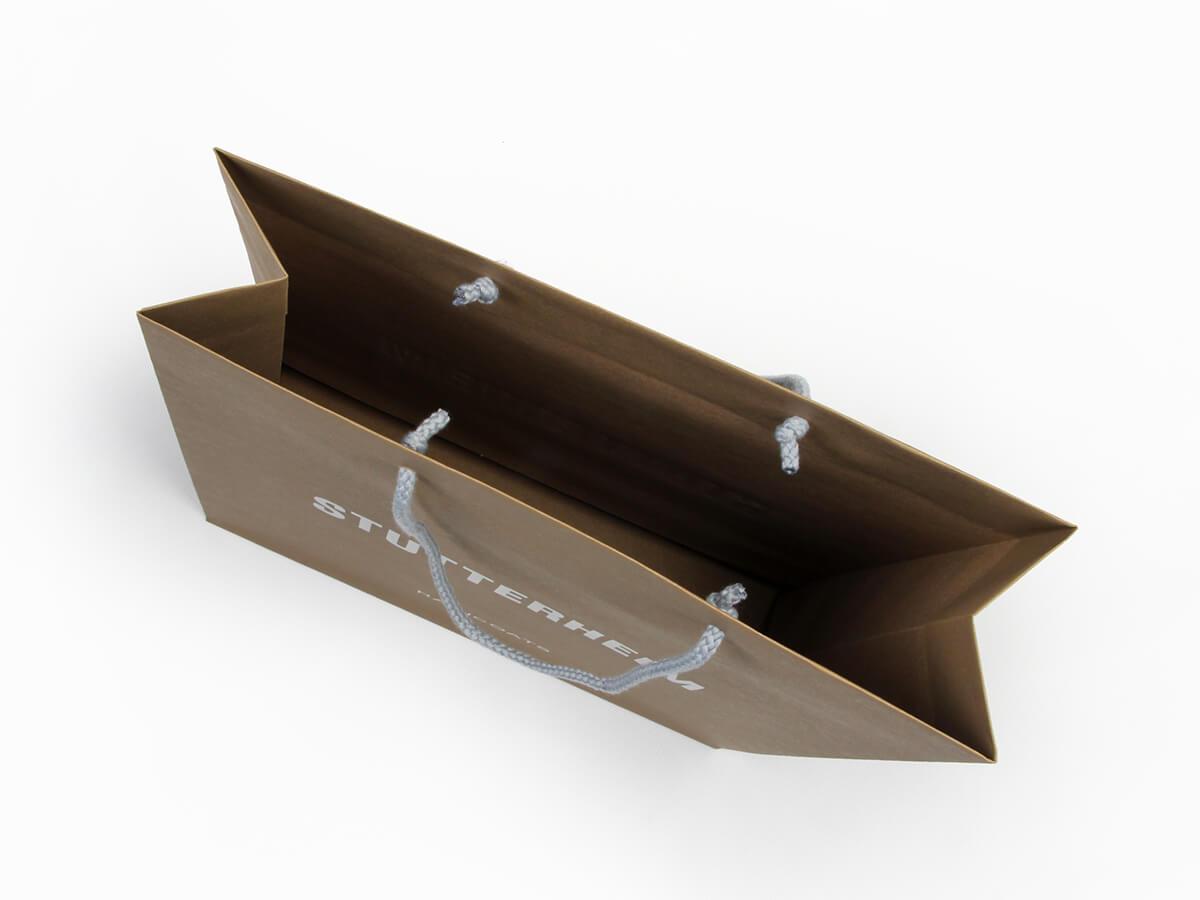 Brown Kraft Garment Paper Carrier Bags Inside Display