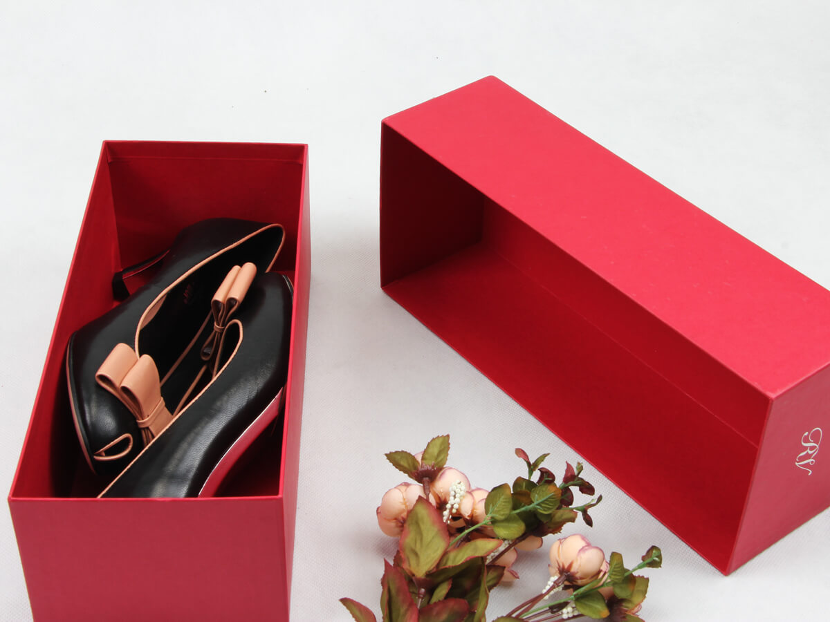 Coated Paper Women Shoe Packaging Boxes Lid and Base