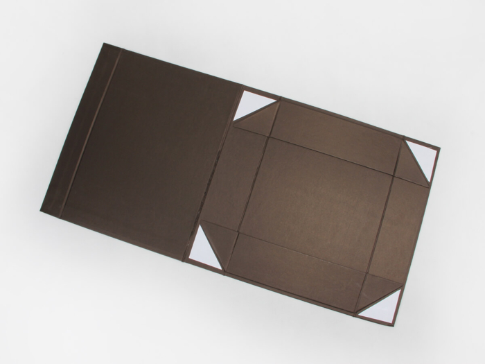 Coffee Color Iridescent Paper Garment Boxes Expanded view