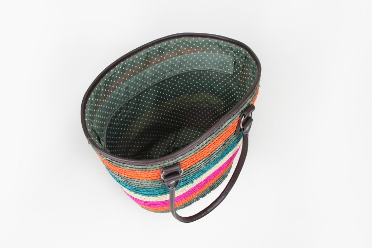 Colourful Straw Bag With Leather Handle open