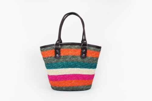 Colourful Straw Bag With Leather Handle style