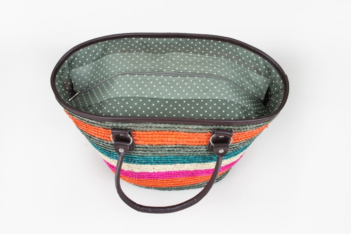 Colourful Straw Bag With Leather Handle top