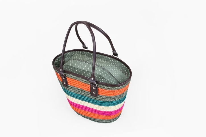 Colourful Straw Bag With Leather Handle