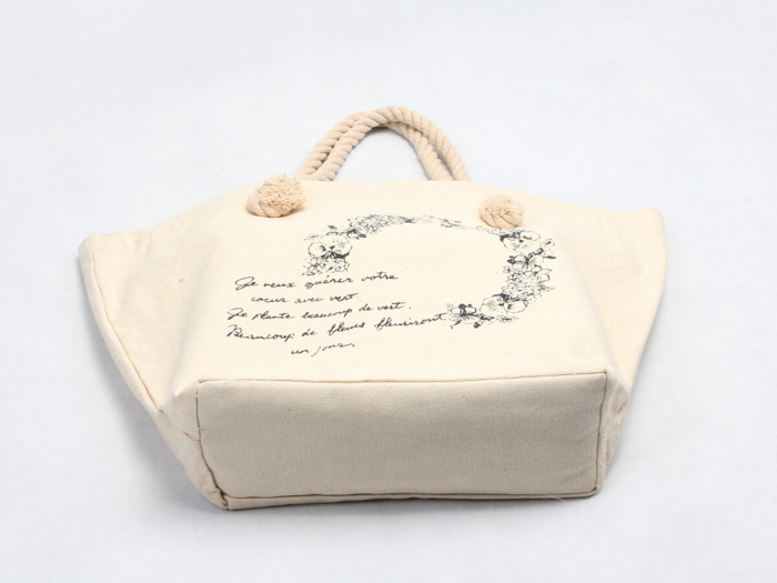 Flower Garland Canvas Tote Bags Bottom Display