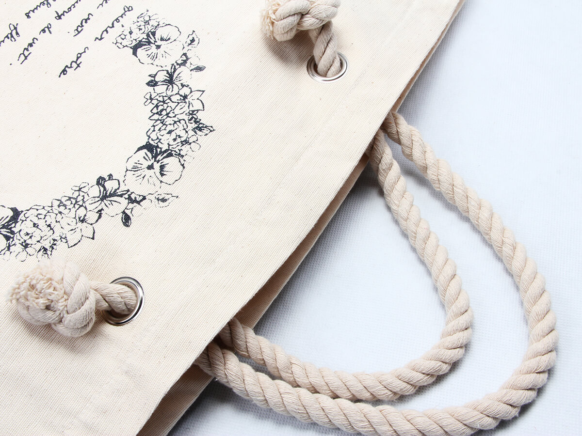 Flower Garland Canvas Tote Bags Handle Detail