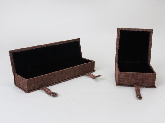 Imitation Hemp Jewelry Boxes Set Open Detail