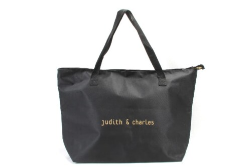 Large Black Polyester Beach Pool Tote Bags With Zipper Closure