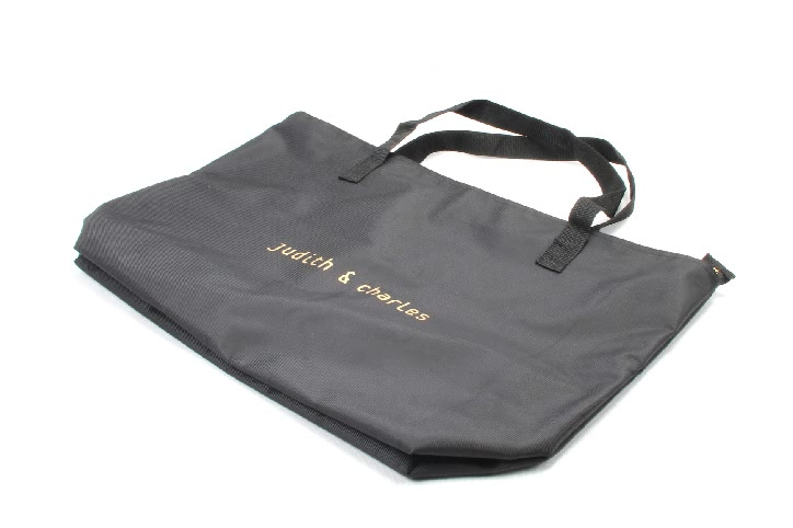 Large Black Polyester Beach Pool Tote Bags With Zipper Closure folding