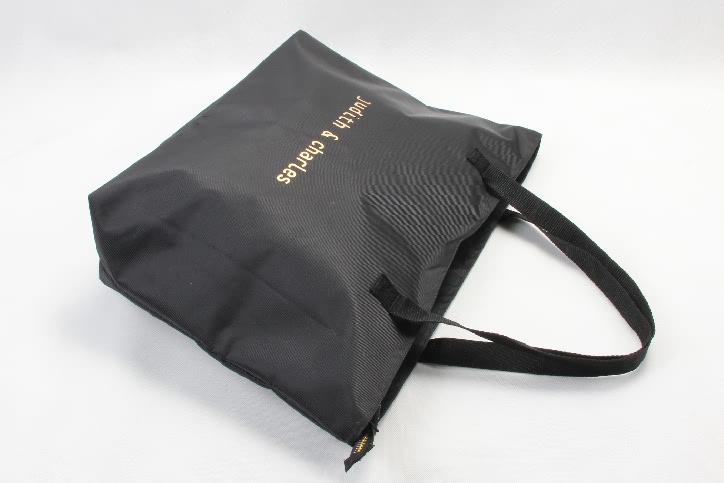 Large Black Polyester Beach Pool Tote Bags With Zipper Closure side