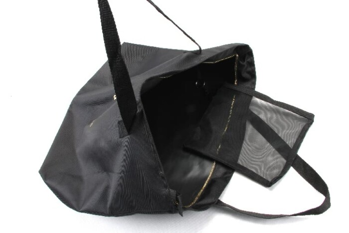 Large Black Polyester Beach Pool Tote Bags With Zipper Closure style