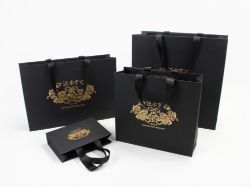 Luxury Black Dyed Scarf Shopping Paper Bags