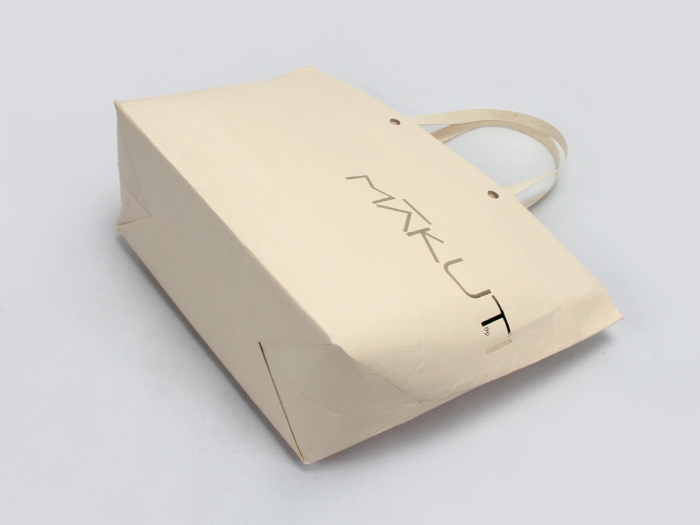 Luxury Leather Paper Ship Type Paper Bags Corner Detail