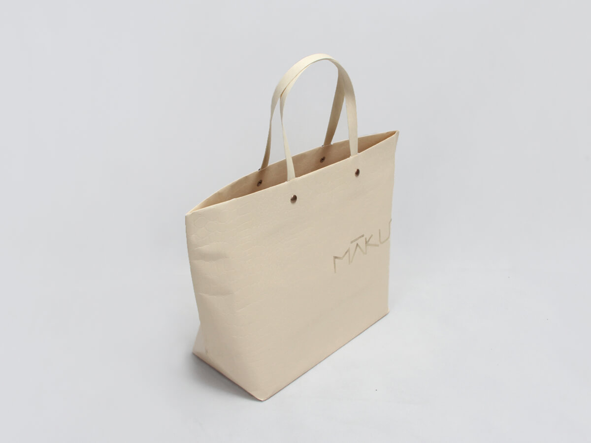 Luxury Leather Paper Ship Type Paper Bags Side Display