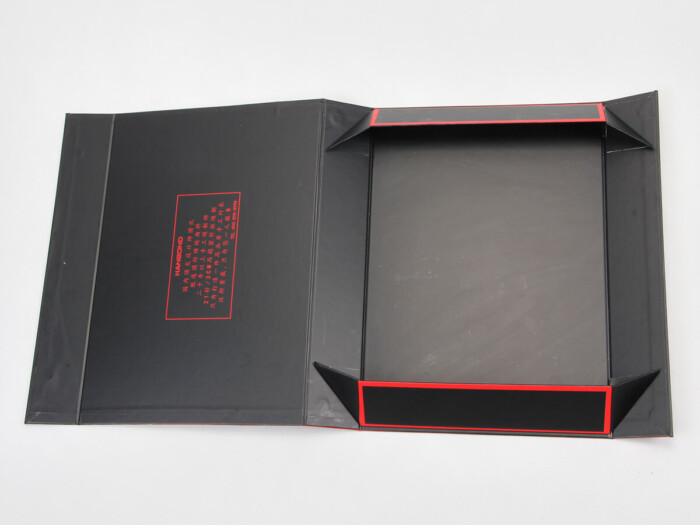 Red Inlaid Dark Shirt Packaging Boxes Expanded