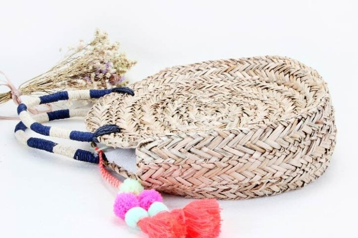 Round Straw Woven Beach Bags side