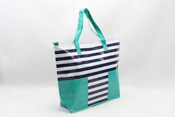 Stripes Woven PP Tote Bags Beach Bags