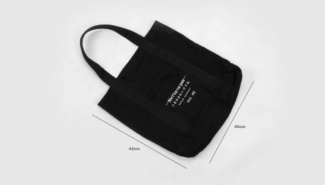 Black Canvas Tote Bags With Long Handles Size