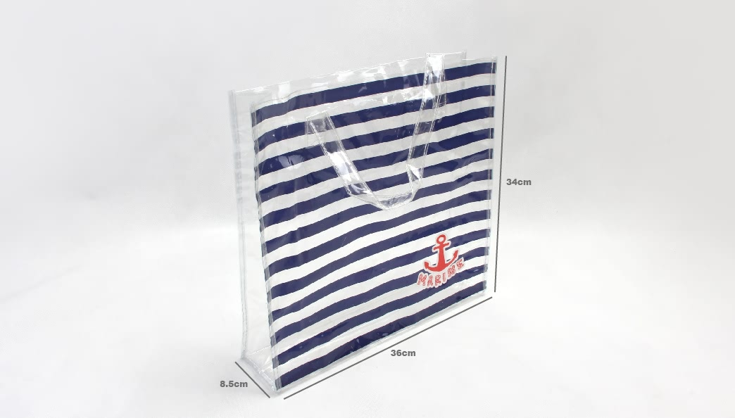 Fashion Horizontal Stripes Waterproof PVC Tote Bags Size