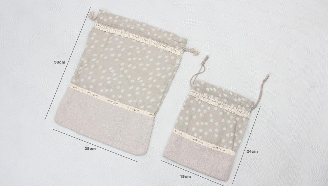 Set Of 2 Linen Cotton Drawstring Bags Size