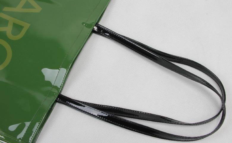 Original Glossy Green PVC Shopping Bags Handle
