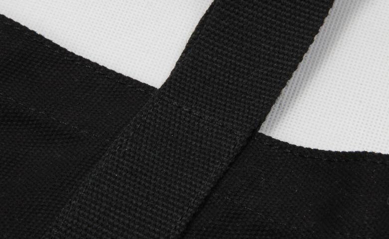 Black Canvas Tote Bags With Long Handles Detail