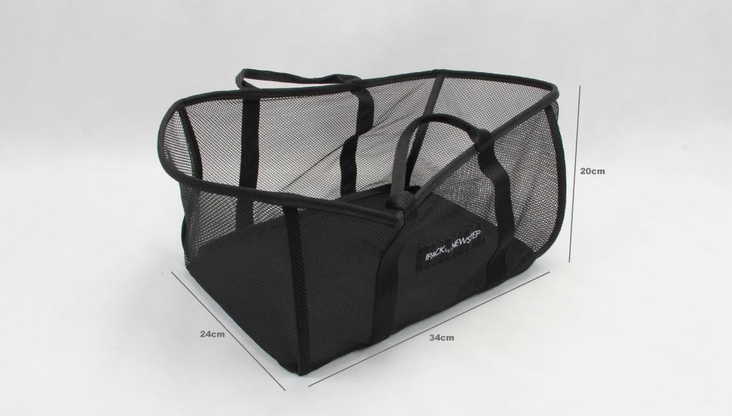 Black See-thru Mesh Cloth Shopping Baskets size