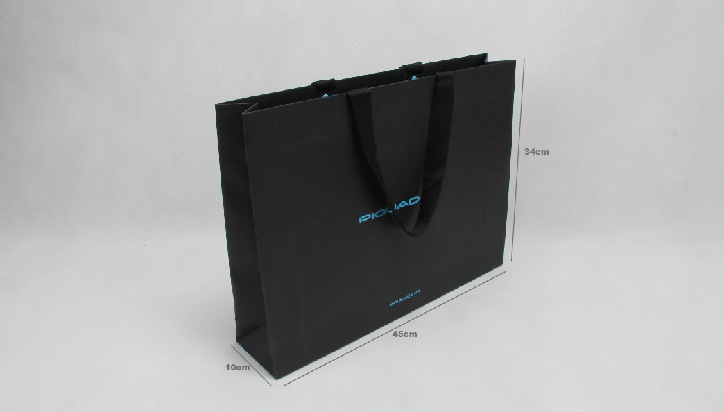 Classic Black Hot Stamped Garment Paper Bags size