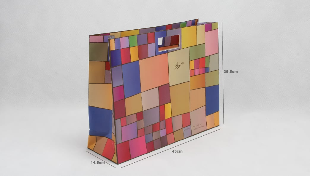 Colorful Blocks Punched Out Handle Bags Gift Bags size