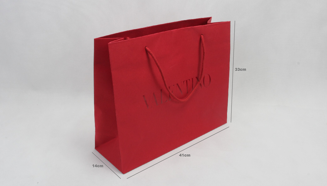 Dazzling Red Garment Paper Shopping Bags size