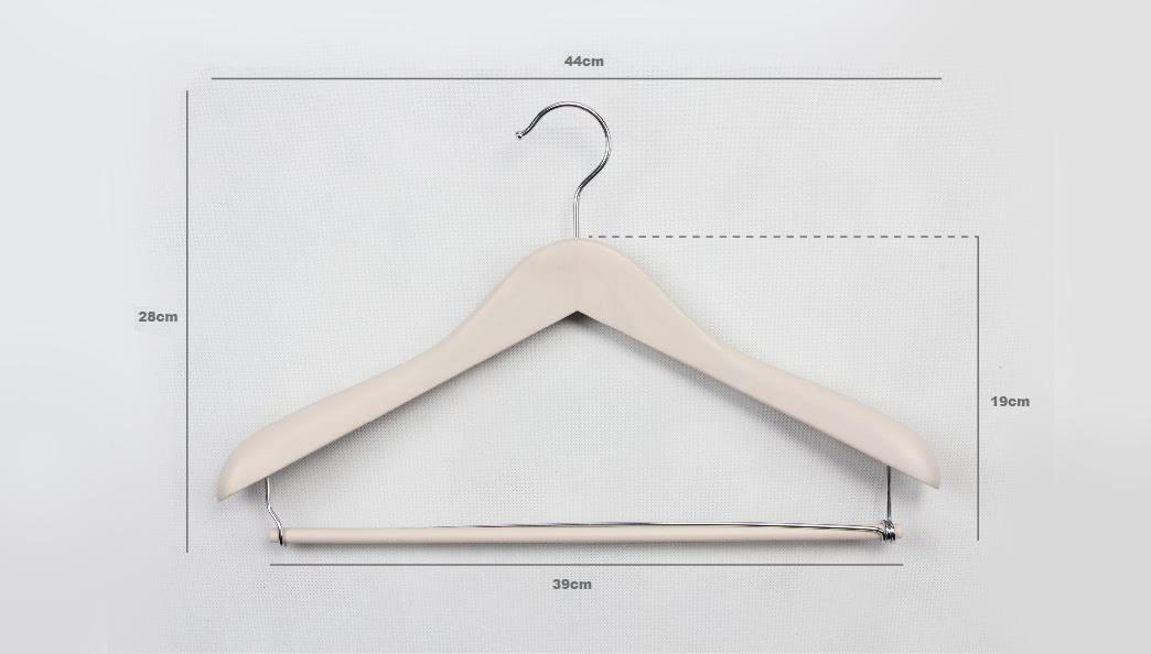 Elegant Beige Wooden Clothes Hangers size