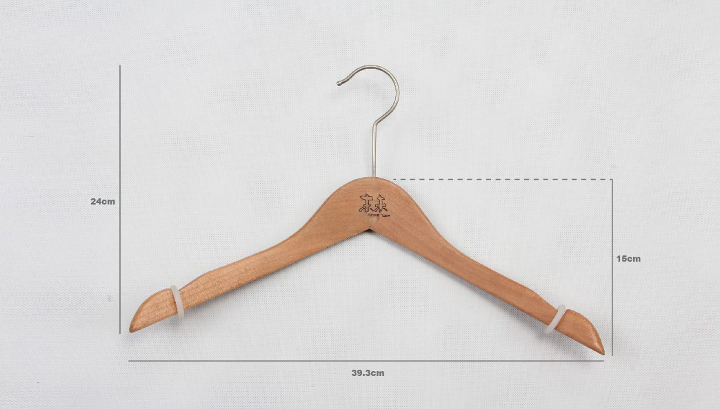Elegant Durable Wooden Clothes Hangers With Soft No-slip Ring size