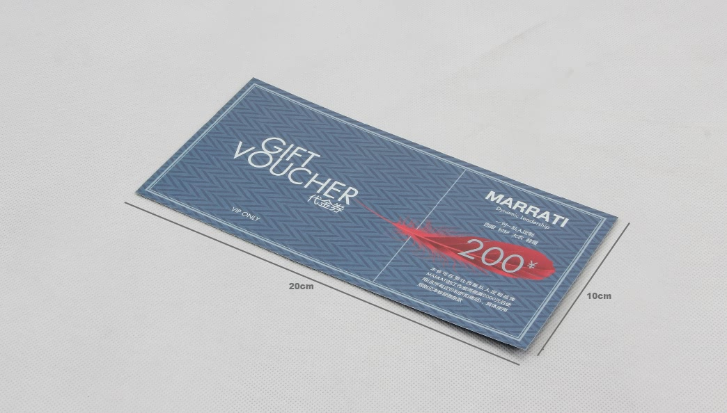 Garment Stores VIP Gift Vouchers Cards size