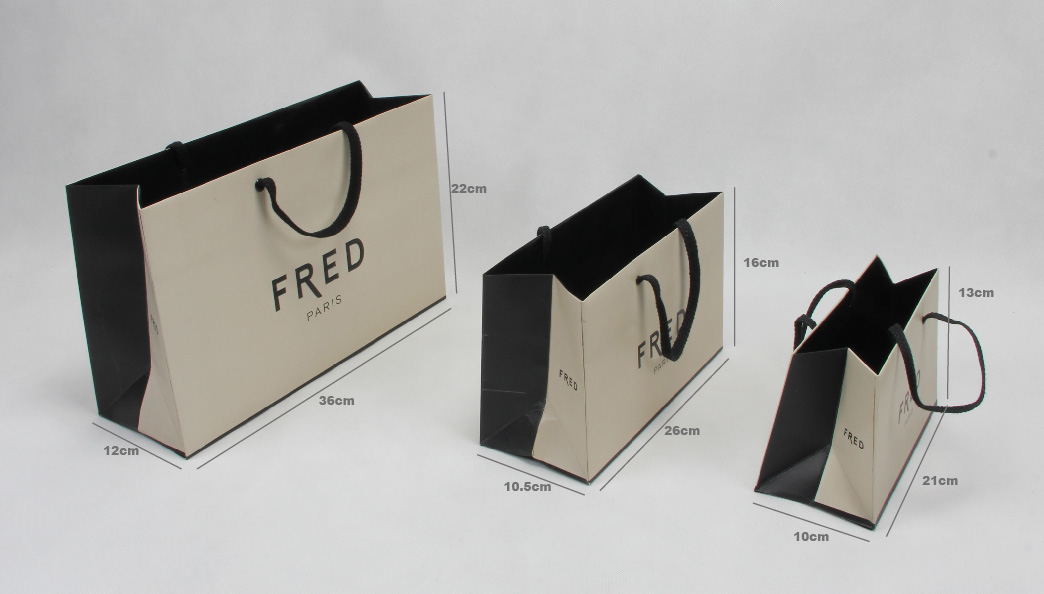 High Grade Beige Jewelry Paper Bags Set size