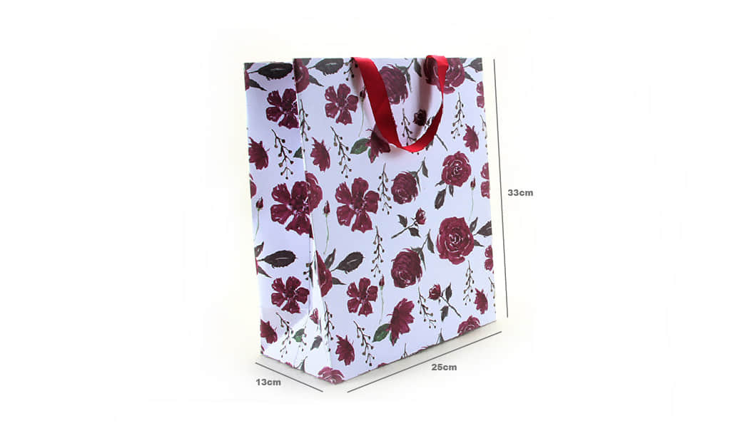 Large Purple Roses Gift Bags With Red Ribbons size
